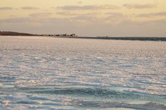 Ice along Sconticut Neck shoreline in Fairhaven, Massachusetts stock photos