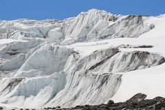 Ice fall on Athabasca Glacier royalty free stock photo