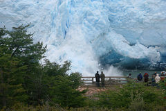 Ice falls. Pieces of ice falls from the perito moreno glacier Royalty Free Stock Photography
