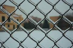 Ice on the fence Stock Image