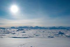 Ice field in Greenland. Backlit on Sermilik fjord's ice field in Greenland Royalty Free Stock Photo