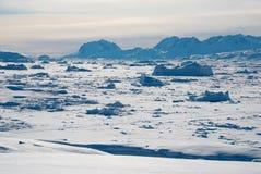 Ice field in Greenland. Backlit on Sermilik fjord's ice field in Greenland Royalty Free Stock Photos