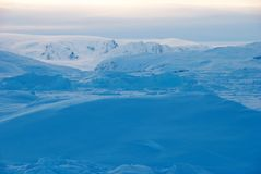 Ice field in Greenland. Sunset on Sermilik fjord's ice field in Greenland Stock Photo