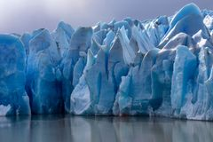 Ice field of the Grey Glacier stock photography