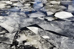 Ice-field on the lake in winter. Horizontal Royalty Free Stock Image