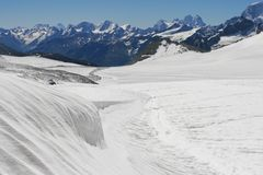 Ice field near Elbrus Royalty Free Stock Image