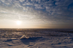 Ice field with setting sun Stock Photography