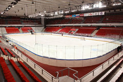 Ice field in sports palace  Royalty Free Stock Images