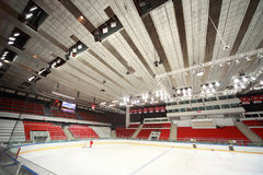 Ice field in sports palace before match Royalty Free Stock Image