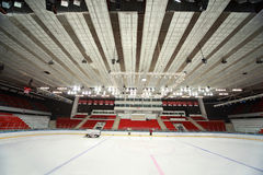 Ice field in sports palace before match Stock Image