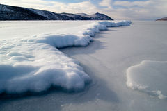 Ice fields. The fishing hole in the ice and extracted from the wells of a pillar of ice Stock Photography