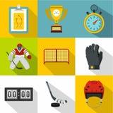 Ice fight icons set, flat style Royalty Free Stock Photo