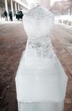 Ice figure shown in Muzeon sculpture park in Moscow. Stock Photos