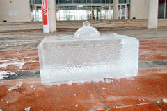 Ice figure shown in Muzeon sculpture park in Moscow. Royalty Free Stock Photo
