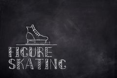 Figure skating chelk text. Ice figure skating sketch chalk text and boot on black board background Royalty Free Stock Photography