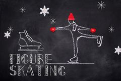 Figure skating chelk text. Ice figure skating sketch chalk text and figure skaterin origami cap on black board background Royalty Free Stock Images
