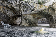 Ice figures in a cave in the Mountain Park of Ruskeala in Kareli Royalty Free Stock Image
