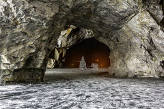 Ice figures in a cave in the Mountain Park of Ruskeala in Kareli Stock Photography