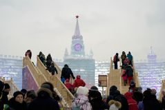 Ice figures in Moscow. Moscow Kremlin model. Royalty Free Stock Photography