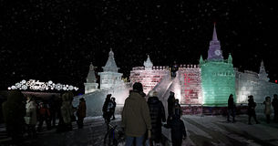 Ice figures shown on Poklonnaya Hill in Moscow. Christmas and Ne Stock Photos