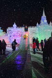 Ice figures shown on Poklonnaya Hill in Moscow. Christmas and Ne Royalty Free Stock Photo