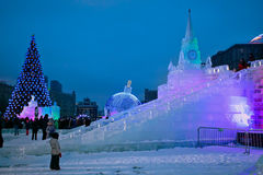Ice figures shown on Poklonnaya Hill in Moscow. Christmas and Ne Royalty Free Stock Image