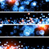 Ice and fire bokeh background set banners. Stock Photos