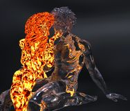 Ice and fire 3d illustration. 3D Illustration Ice male figure and fire female figure Stock Photos