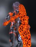 Ice and fire 3d illustration. 3D Illustration Ice male figure and fire female figure Stock Images