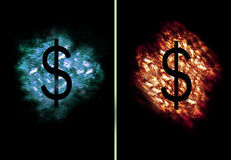 Ice Fire Dollar. Dollar Symbol on flames and ice cloud Royalty Free Stock Photos