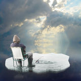 Ice fisherman floating on iceberg. Stock Images