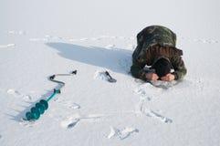 Ice fisherman on winter lake Stock Images