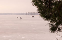 Ice fishermen enjoying winter Stock Photography