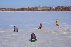 Ice Fishermen Royalty Free Stock Photography