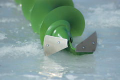 Ice fishing - auger Royalty Free Stock Photography