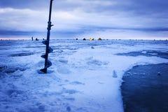 Ice fishing background Stock Images