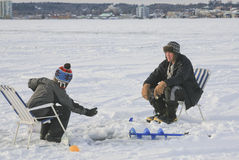 Ice Fishing Barrie, Ontario, Canada Stock Photography