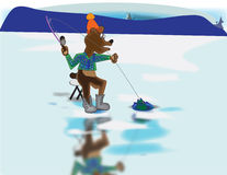 Ice Fishing Bear Royalty Free Stock Photos