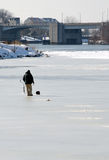 Ice fishing in Benton Harbor Royalty Free Stock Images