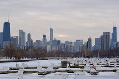 Ice Fishing In Chicago Stock Image