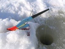 Ice fishing equipment royalty free stock image