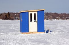 Ice Fishing House. On a lake Stock Photos