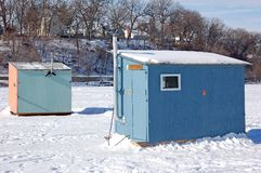 Ice Fishing Houses. On a lake Stock Photo