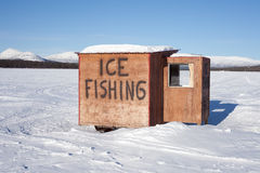 Ice fishing hut Stock Image