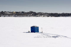 Ice fishing hut, lake Calhoun, Minneapolis, Minnesota, USA Royalty Free Stock Image