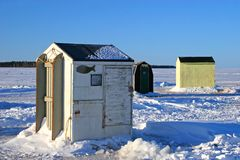 Ice Fishing Huts 2 Stock Photo