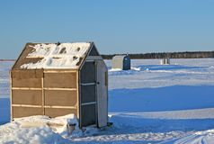 Ice Fishing Huts Royalty Free Stock Image