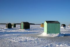 Ice Fishing Huts 3 Stock Photography