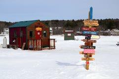 Ice Fishing Huts royalty free stock photography