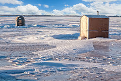 Ice Fishing Huts Royalty Free Stock Photo